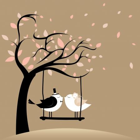 twee vogels in de liefde net getrouwd op bruine achtergrond