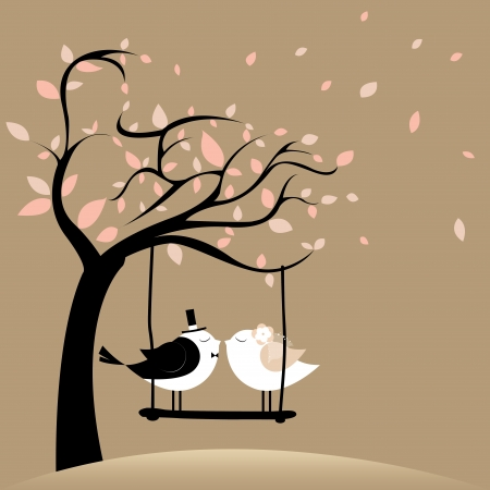 two birds in love just married on brown background Illustration