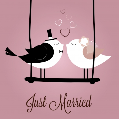 just married birds on special pink background 向量圖像