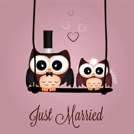 Apenas b�hos casados ??sobre fondo de color rosa especial