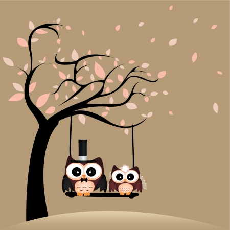 just married: just married owls on special brown background