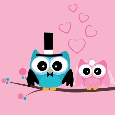 just married cute owls on special pink background Vector