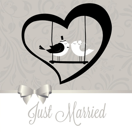 just married birds on special gray background Vector