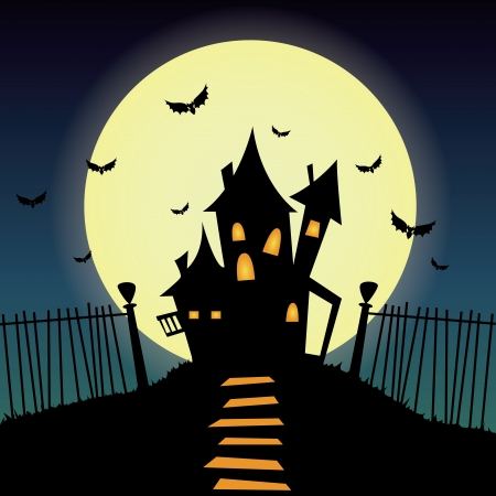 castle silhouette: Abstract castle silhouette on special halloween background