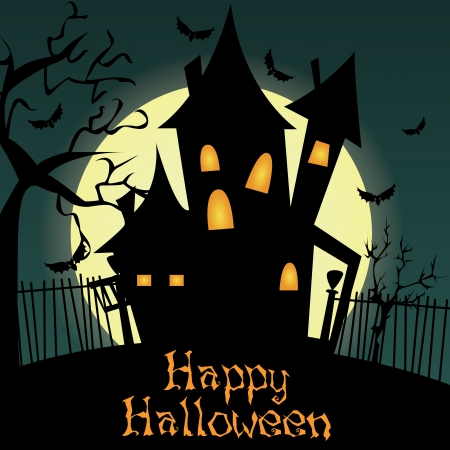 castle silhouette: abstract castle silhouette on special halloween silhouette Illustration