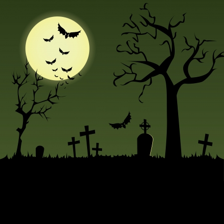 trees and graves on special halloween background Vector