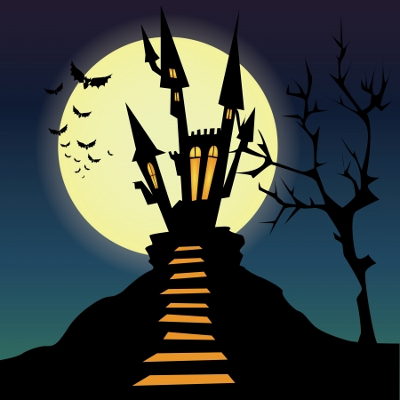 castle silhouette: abstract dark castle silhouette on special halloween background Illustration