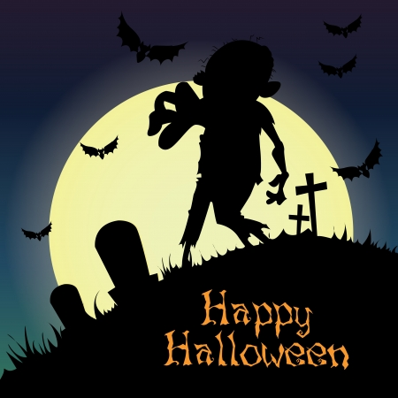 abstract zombie silhouette on special halloween background Illustration