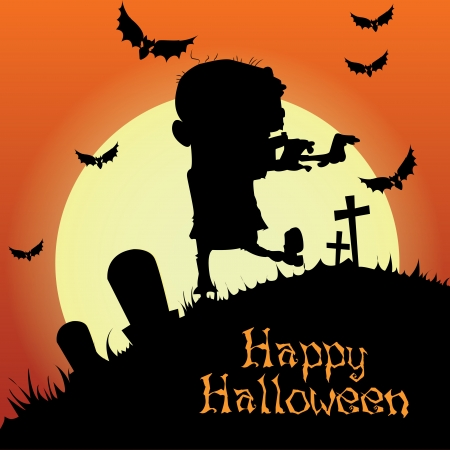 abstract zombie silhouette on special halloween background Vector