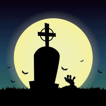 abstract grave silhouette on special halloween background Vector
