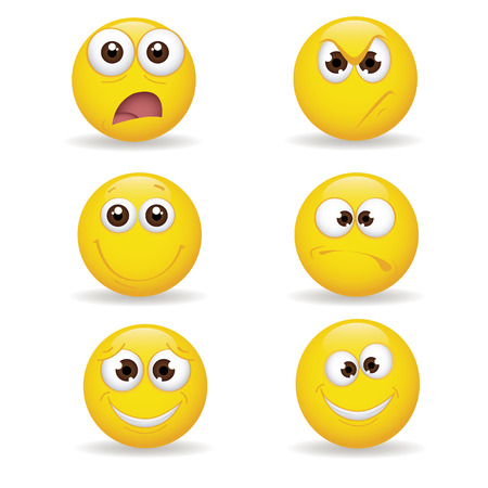 different yellow expression emoticon on white background Vector
