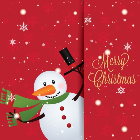 abstract cute snowman on special red background Vector