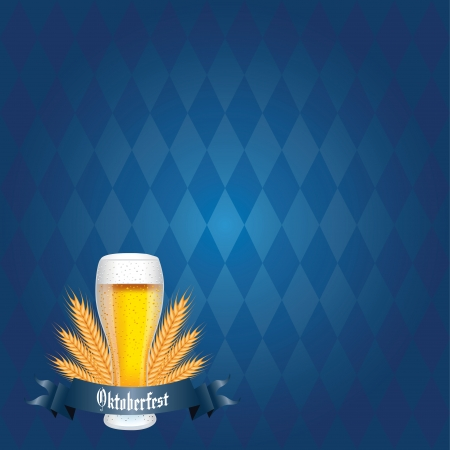 abstract beer and oktoberfest text on special blue background Illustration