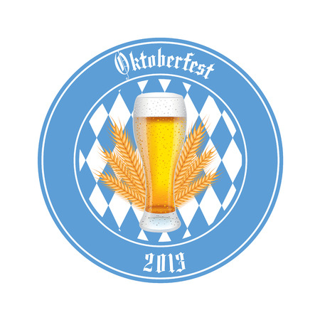 abstract beer oktoberfest label on white background