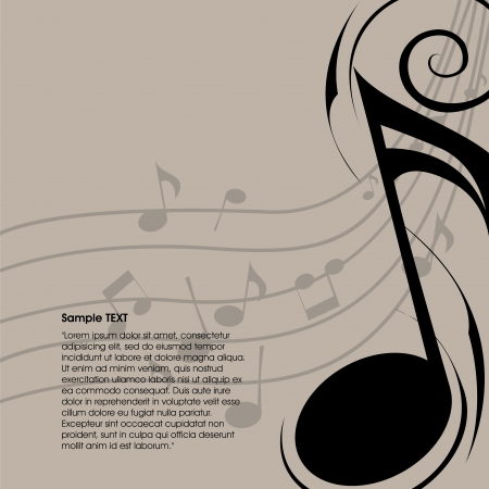 abstract music note on special light brown background
