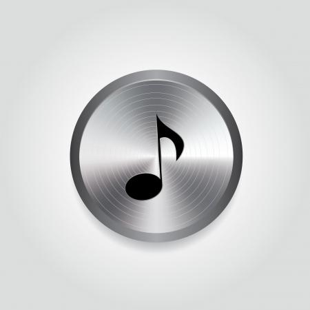 silver circle: abstract musica nota nero su speciale cerchio d'argento