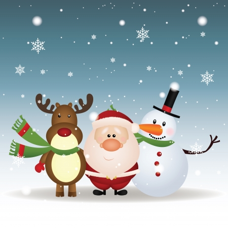 abstract reindeer, Santa Claus and snowman on special christmas background 向量圖像