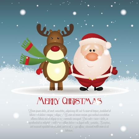snowballs: abstract brown reindeer and Santa Claus on special christmas background
