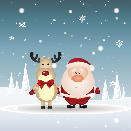 abstract brown reindeer and Santa Claus on special christmas background Vector