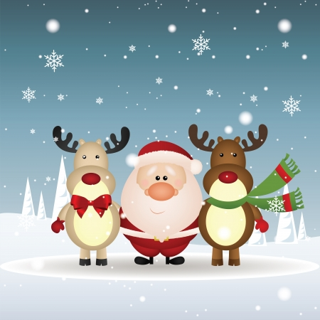 abstract dark and light brown reindeer and Santa Claus on special christmas background 向量圖像