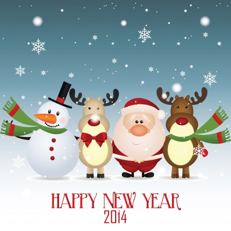 snowman, santa claus and reindeer celebrating a new year