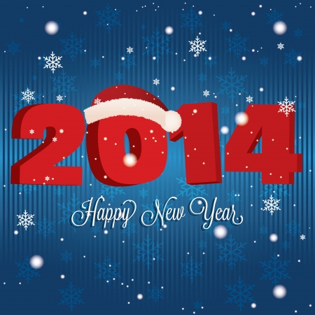 abstract happy new year and 2014 with hat on special blue background Vector