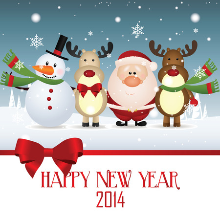 abstract Santa Claus, Reindeer and snowman celebrating a new year Vector