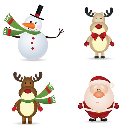 snowman, reindeer and santa claus icons on white background Illustration