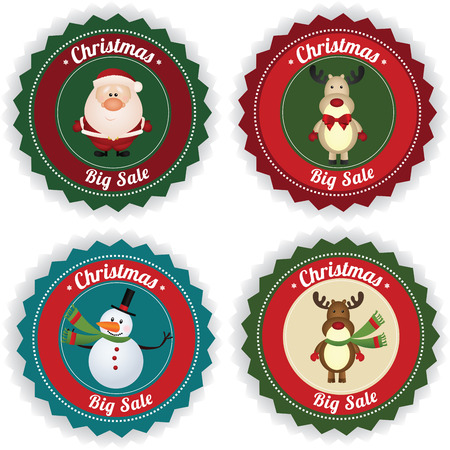 Christmas big sale labels on white background Vector