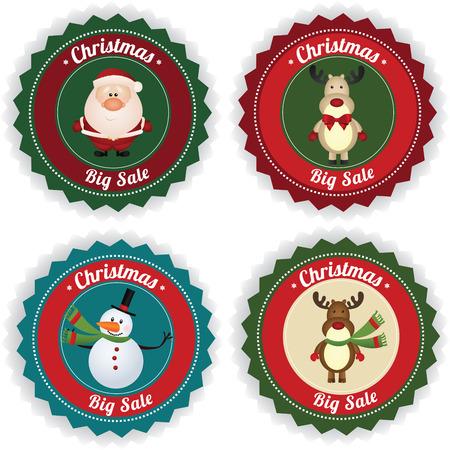 price: Christmas big sale labels on white background Illustration