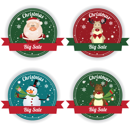 Christmas big sale labels on white background 向量圖像
