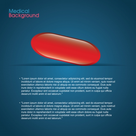 red pill: abstract red pill with abstract information on blue background Illustration