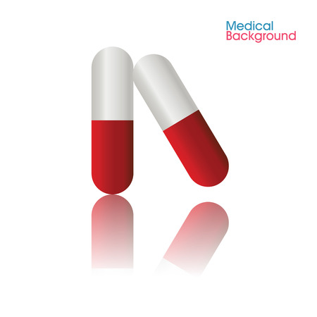 red pill: abstract red pill with shadow effect on white background Illustration