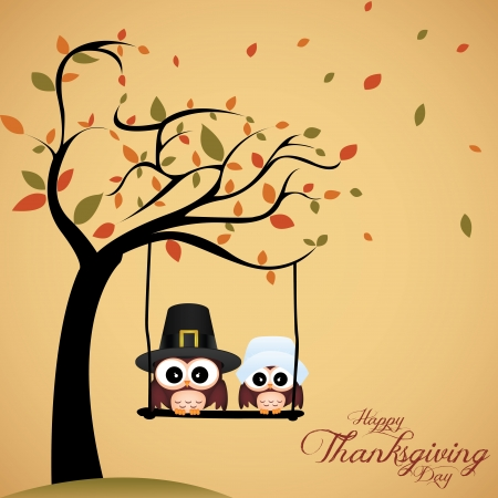 animal border: abstract cute owls on special thanksgiving day background