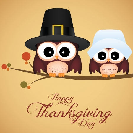beautiful thanksgiving: abstract cute owls on special thanksgiving day background