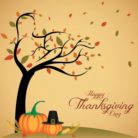 abstract cartoon pumpkin and hat on special thanksgiving day background Vector