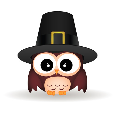 abstract cute owl with a male hat on white background Vector