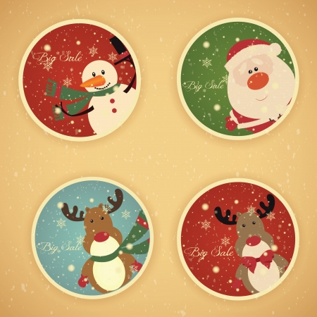 Abstract christmas sale labels with vintage effect Vector