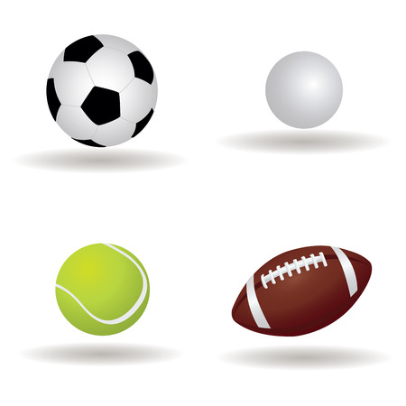 abstract sports balls with shadow effect on white background Vector