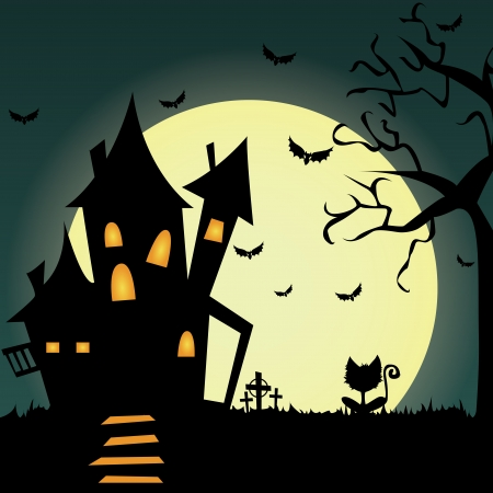 Special halloween background with different terror objects