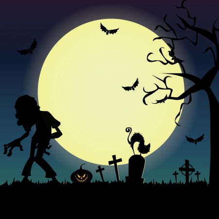 Special halloween background with different terror objects Vector