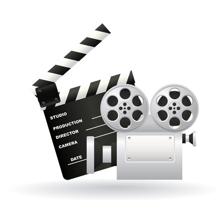 buttered: abstract cinema symbols with shadow effect on white background