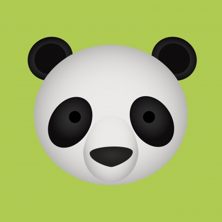 abstract cute panda face on green background Vector