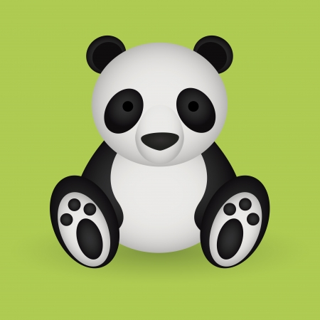 abstract cute panda with shadow effect on green background Vector