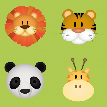 abstract cute animals face on green background Vector
