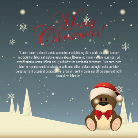 abstract cute bear on special christmas background Vector