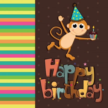 abstract happy birthday card with special objects Vector