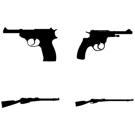 abstract weapons silhouettes on a white background Illustration