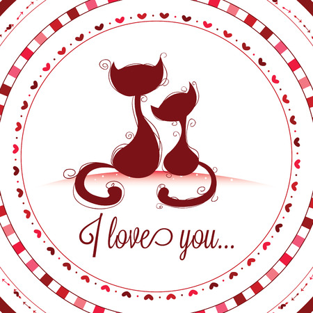 abstract cats in love on white background Vector