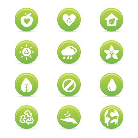 abstract sustainability icons on a white background